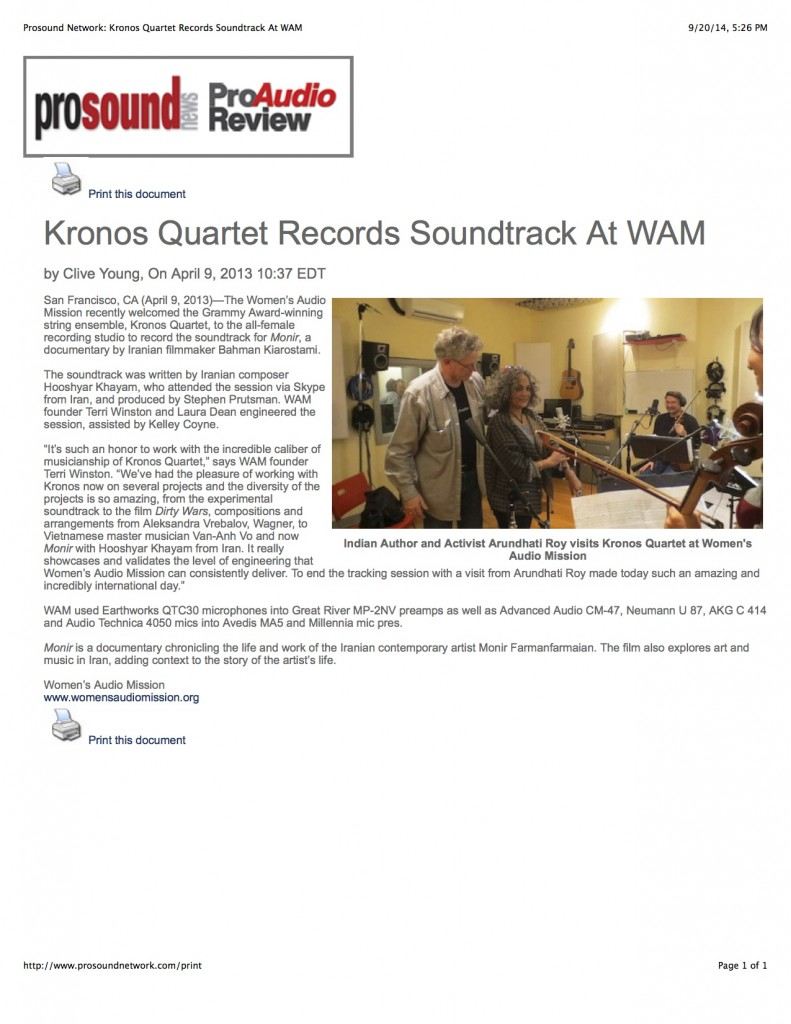 Prosound Network: Kronos Quartet Records Soundtrack At WAM